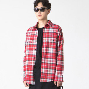 Ombre Check Shirt Red